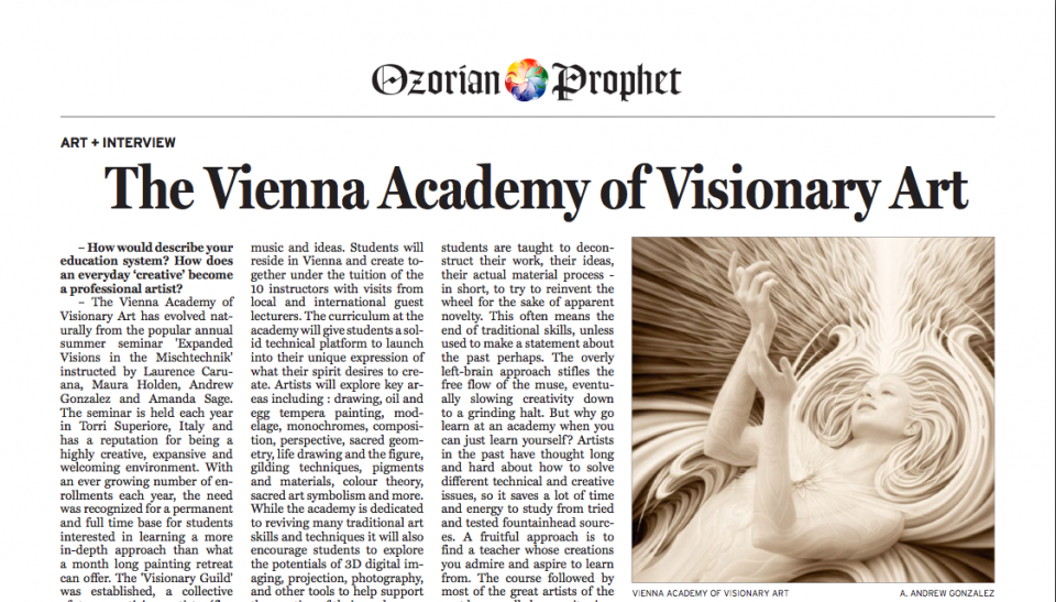 Ozorian Prophet Article on The Vienna Academy of Visionary Art