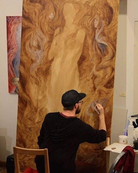 """Kevin Campeau working on """"Disciple of Memory"""""""